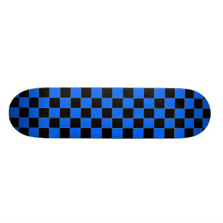 Black and Blue Checkered Skateboard