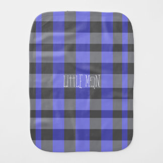 Black and Blue Plaid Baby Boy Burp Cloth
