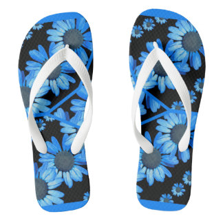 black and blue shasta daisy flip flops thongs