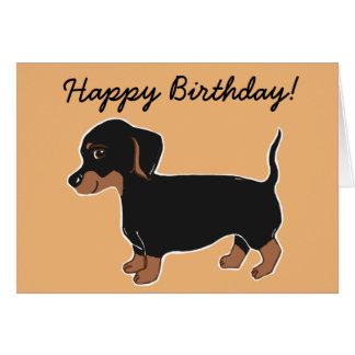 Black and Brown Dachshund Happy Birthday Card