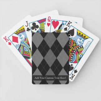 Black and Charcoal Gray Argyle Bicycle Playing Cards
