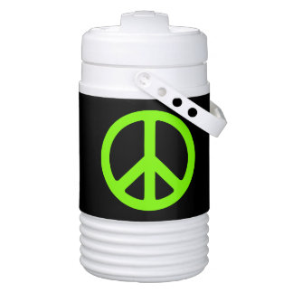 Black and Chartreuse Peace Symbol Drinks Cooler