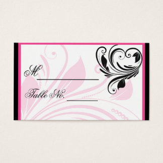 Black and Dark Pink Floral Wedding PlaceCard