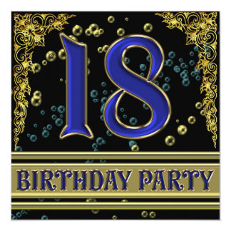 Black and Gold 18th Birthday party Card