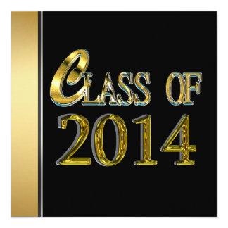 """Black And Gold 2014 Graduation Invitations 5.25"""" Square Invitation Card"""