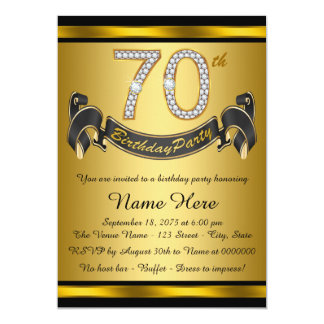 """Black and Gold 70th Birthday Party 5"""" X 7"""" Invitation Card"""