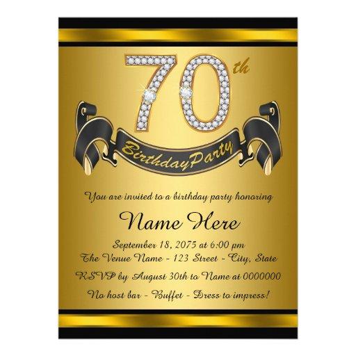 Black and Gold 70th Birthday Party Custom Invites