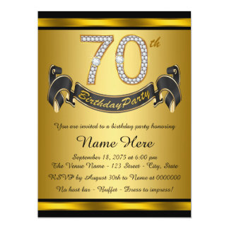 """Black and Gold 70th Birthday Party 6.5"""" X 8.75"""" Invitation Card"""