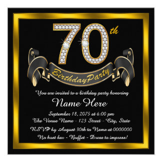 Black and Gold 70th Birthday Party Announcements
