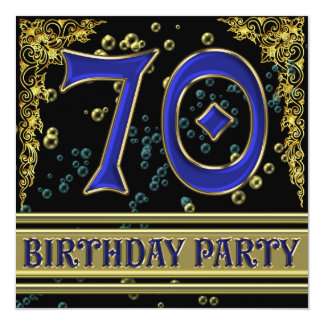 Black and Gold 70th Birthday party 13 Cm X 13 Cm Square Invitation Card