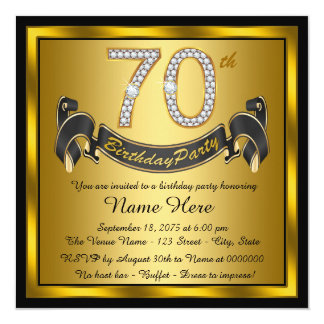 """Black and Gold 70th Birthday Party 5.25"""" Square Invitation Card"""
