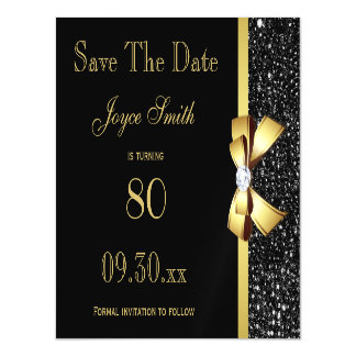 Black and Gold Any Age Birthday Save The Date Magnetic Invitations