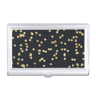 Black and Gold Confetti Case For Business Cards