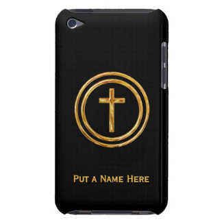 Black and Gold Cross Name Template iPod Touch Cases