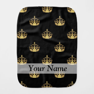 Black and gold crown pattern baby burp cloths
