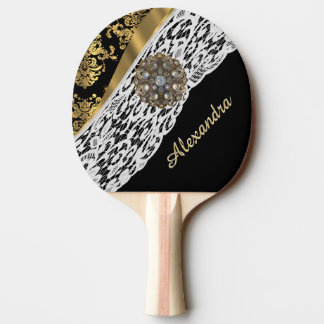 Black and gold damask white lace and crystal ping pong paddle