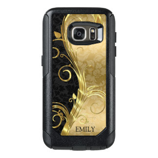 Black And Gold Damasks Gold Swirls OtterBox Samsung Galaxy S7 Case
