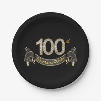 Black and Gold Diamond 100th Birthday Party Paper Plate