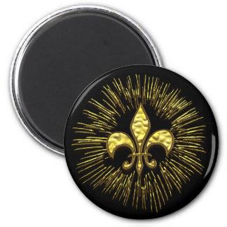 Black and Gold Fleur de Lis Fireworks Magnet