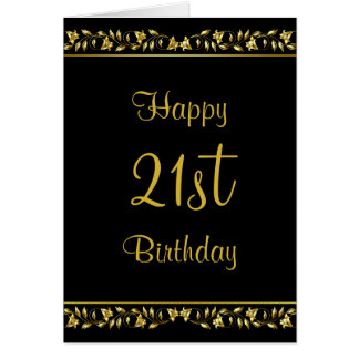 Black and Gold Floral 21st Birthday Card