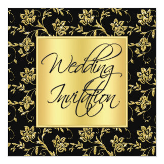 Black and Gold Floral Wedding Invitation