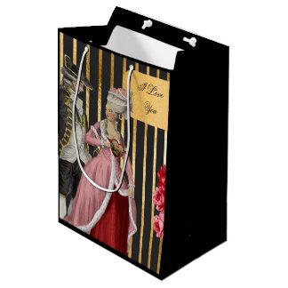 Black and Gold Marie Antoinette Valentine Medium Gift Bag