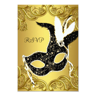 Black and Gold Masquerade Party RSVP 9 Cm X 13 Cm Invitation Card
