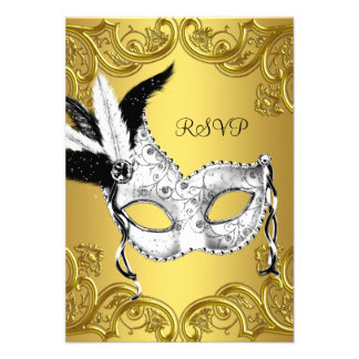 Black and Gold Masquerade Party RSVP Personalized Invitations
