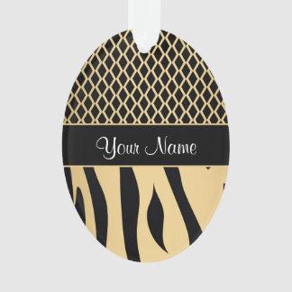 Black and Gold Metallic Animal Stripes Ornament