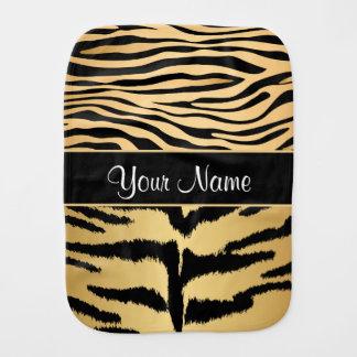 Black and Gold Metallic Tiger Stripes Pattern Burp Cloth