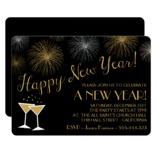 Black and Gold New Years Eve Party Invitations