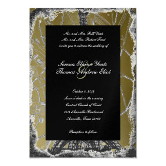 Black and Gold Paris Wedding Invitation