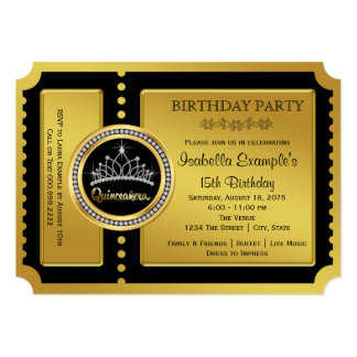 Black and Gold Quinceanera Birthday Party Card