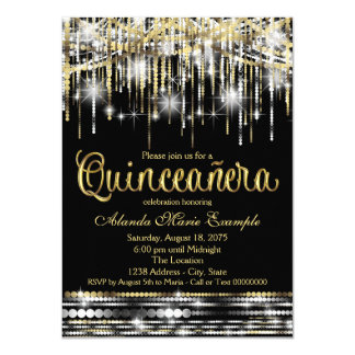 Black and Gold Quinceanera Glitter Glam Sparkle 4.5x6.25 Paper Invitation Card