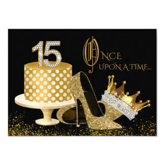 Black and Gold Quinceanera Invitations