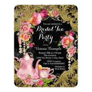 Black and Gold Rose Tea Party 11 Cm X 14 Cm Invitation Card