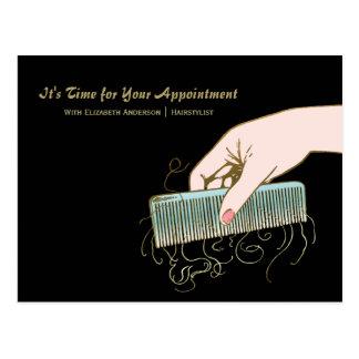 Black and Gold Salon Reminder Vintage Comb Curls Postcard