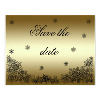 Black and gold snowflake Save the date cards