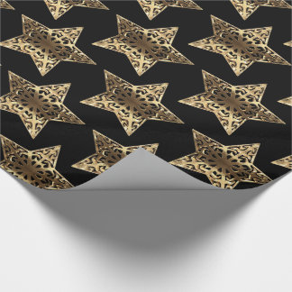 Black and Gold Stars Pattern Black Christmas Chic Wrapping Paper