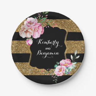 Black and Gold Stripes - Pink Floral Wedding 7 Inch Paper Plate
