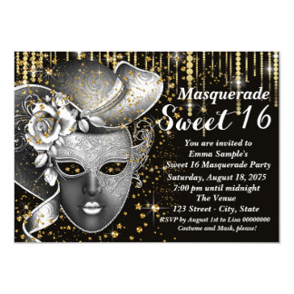 """Black and Gold Sweet Sixteen Masquerade Party 4.5"""" X 6.25"""" Invitation Card"""