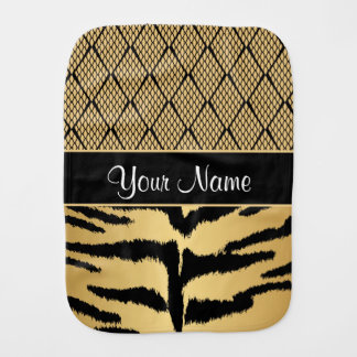 Black and Gold Tiger Animal Pattern Burp Cloth
