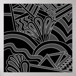 Black and Gray Art Deco Design. Poster