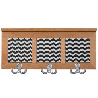 Black and Gray Chevron Zigzag Wall Hook Coat Rack