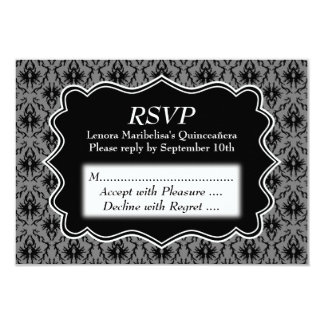 Black and Gray Damask Pattern Quinceanera Card