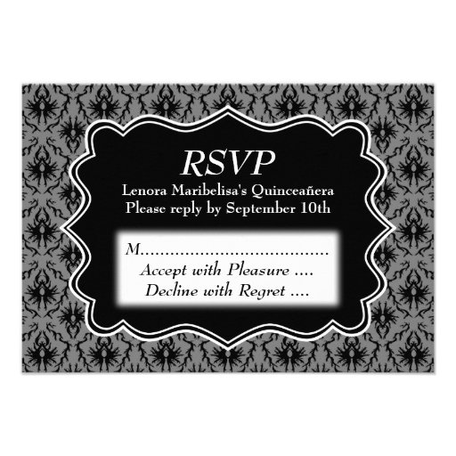 Black and Gray Damask Pattern Quinceanera Personalized Invitations