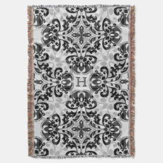 Black and gray damask personalized monogram throw blanket