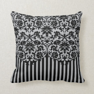 Black and Gray Damask Stripe Pattern Cushion