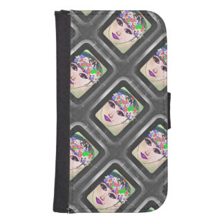 Black and Gray flower Crown Wallet Case
