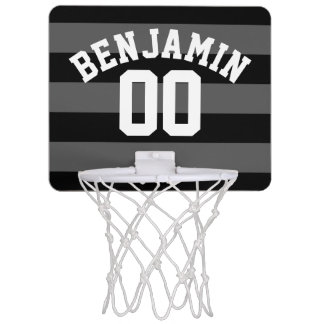 Black and Gray Silver Rugby Stripes Name Number Mini Basketball Hoop
